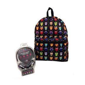 Рюкзак с наушниками Сова, черный мульти
