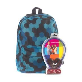 Рюкзак 3D Bags Мозаика синяя, с наушниками